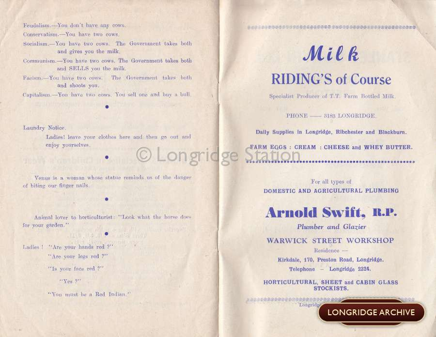 Longridge Carnival Programme, July 6th 1957