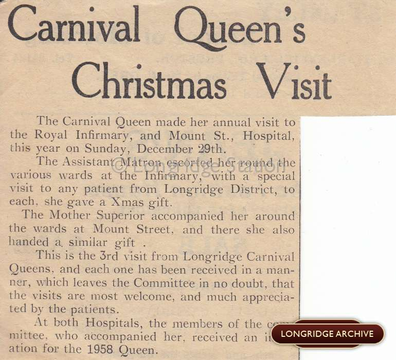 Carnival Queen's Christmas Visit, 1957 Newspaper Article ...